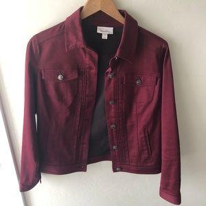 Dressbarn Dark Maroon Button Up Jacket sz Small